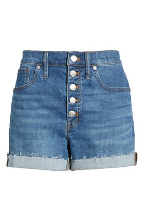 Madewell High Waist Button Front Denim Shorts (Derby)   Nordstrom