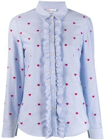heart pattern ruffle trim shirt