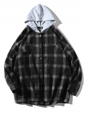 [41% OFF] 2019 Casual Plaid Faux Pocket Hooded Shirt In BLACK S | DressLily.com