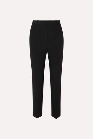 Crepe Slim-leg Pants - Black