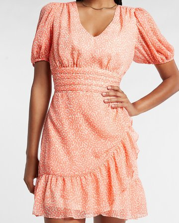 Printed Ruffle Wrap Puff Sleeve Dress