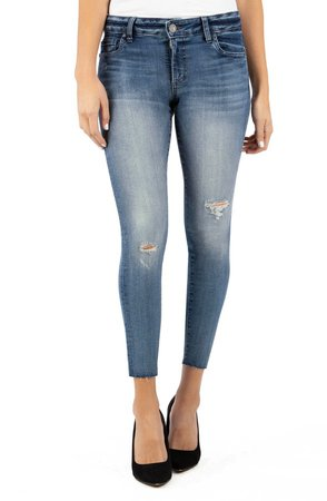 Connie Ripped High Waist Ankle Skinny Jeans