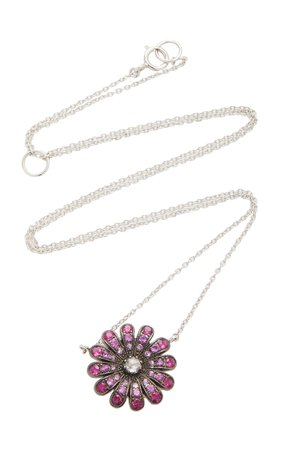 18K White Gold, Ruby And Diamond Necklace by Nam Cho | Moda Operandi