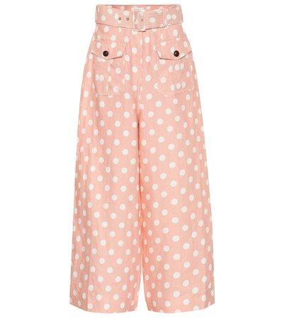 ZIMMERMANN Corsage Safari polka-dot linen pants