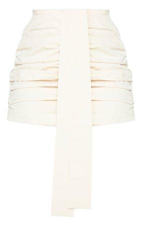 Cream Woven Ruched Mini Skirt | Skirts | PrettyLittleThing USA