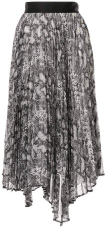 asymmetric snake-print pleated skirt