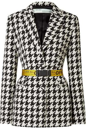 Off-White | Canvas jacquard-trimmed houndstooth wool-blend blazer | NET-A-PORTER.COM