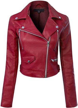 Design by Olivia Women's Long Sleeve Zipper Closure Moto Biker Faux Leather Jacket Burgundy M at Amazon Women's Coats Shop