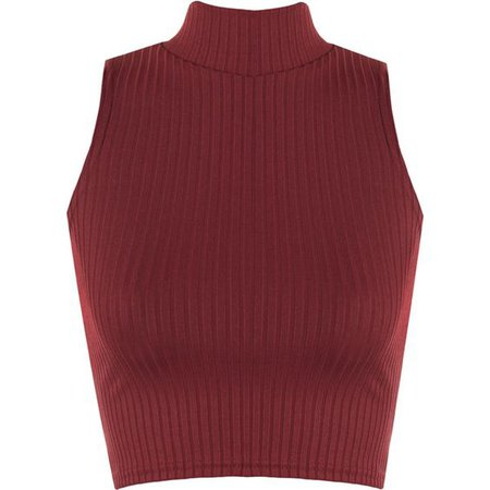Dark Red Turtleneck Crop Top