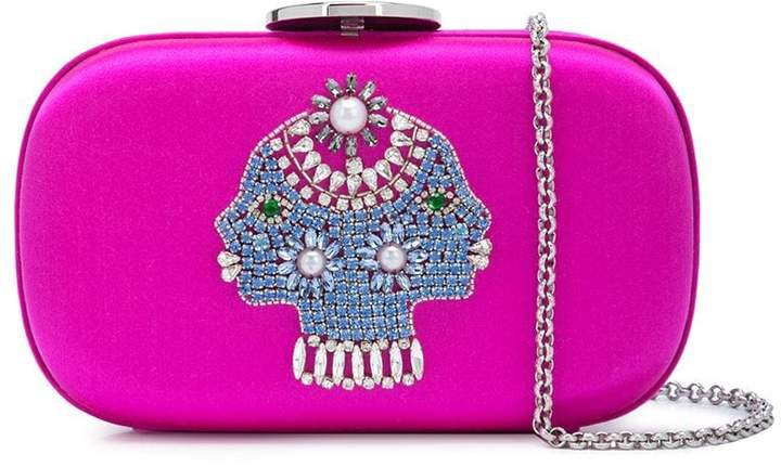 embellished head clutch bag