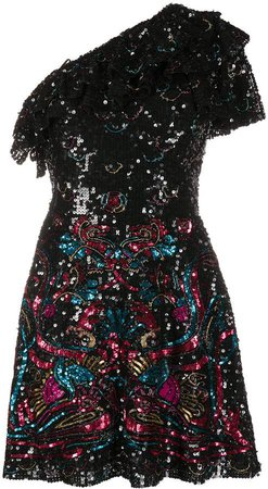 Sequinned One-Shoulder Mini Dress