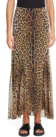 Leopard Print Mesh Maxi Skirt