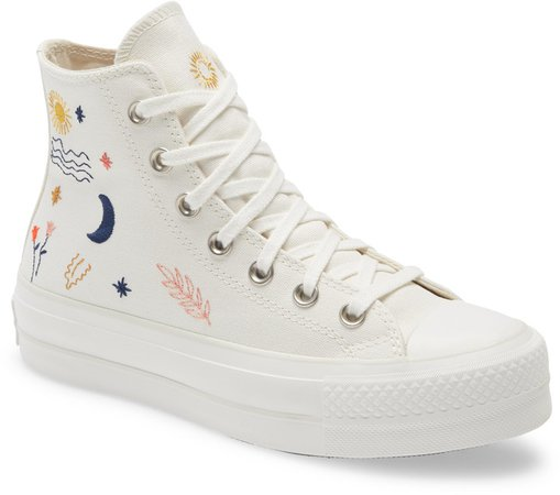 Chuck Taylor(R) All Star(R) It's Okay to Wander Embroidered Platform Sneaker