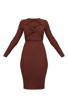 Chocolate Brushed Rib Twist Cut Out Midi Dress   PrettyLittleThing USA