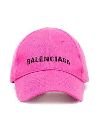Balenciaga Pink Logo Embroidered Cap - Farfetch