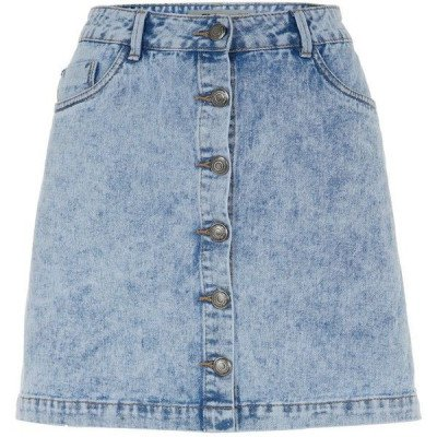 Blue Acid Wash Button Front A-Line Denim Skirt