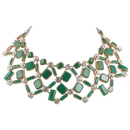 Kenneth Jay Green Glass And Clear Paste Collar Necklace