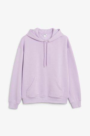Soft drawstring hoodie - Lavender - Sweatshirts & hoodies - Monki FR