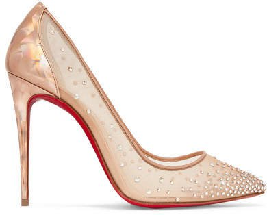 Follies 100 Crystal-embellished Mesh And Metallic Leather Pumps