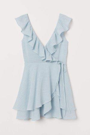 Ruffle-trimmed Wrap Dress - Blue