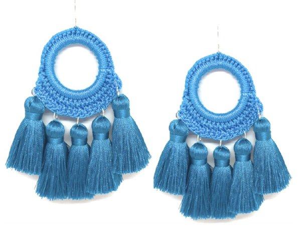 Blue tassel earrings Accessory Concierge