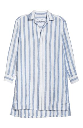 Frank & Eileen Stripe Linen Shirtdress | white