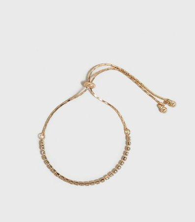 Gold Diamanté Toggle Bracelet | New Look