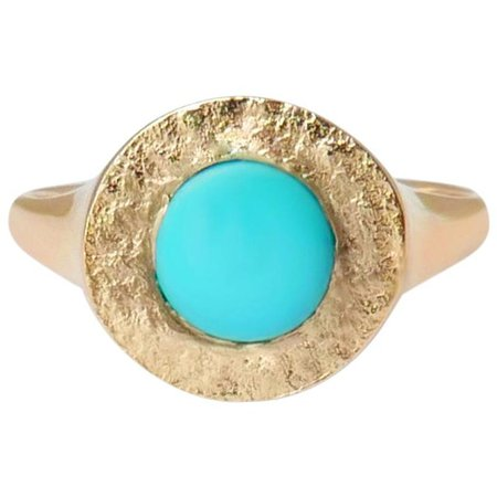 Turquoise Signet Ring in 14 Karat Gold