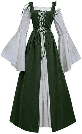 Amazon.com: Plus Size Renaissance Costume Dress for Women Halloween Medieval Irish Cosplay Dresses Bandage: Clothing