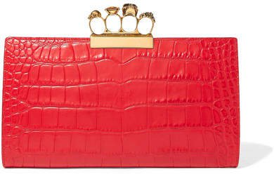Knuckle Embellished Croc-effect Leather Clutch - Red