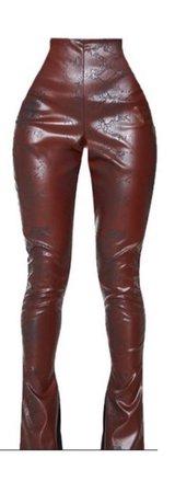 burgundy black leather pants