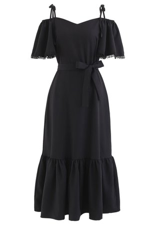 Cold-Shoulder Flare Sleeves Frill Hem Dress in Black - Retro, Indie and Unique Fashion