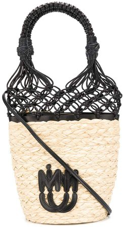 Mesh Detailed Straw Bucket Bag