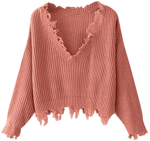 ZAFUL Women's Solid V Neck Loose Sweater Long Sleeve Ripped Jumper Pullover Knitted Crop Top (Purple(Fit US Size:4-8)) at Amazon Women's Clothing store