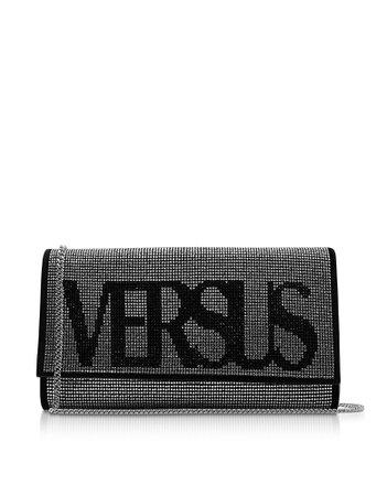 Versace Versus Vintage Logo Envelope Crystals And Suede Clutch