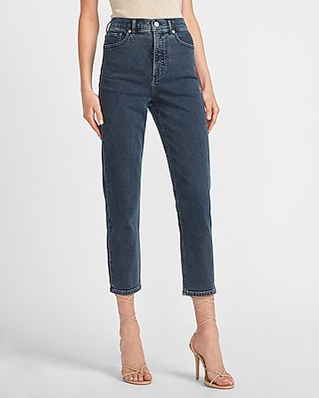 Super High Waisted Ripped Mom Jeans | Express