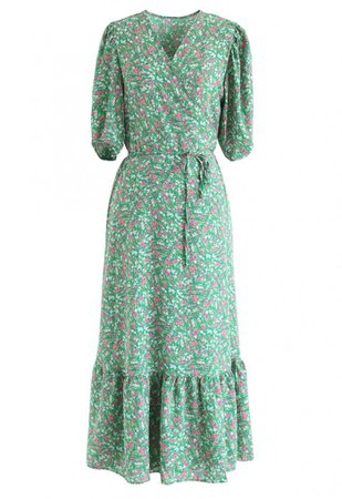 Allured Floret Wrapped Dress in Green - NEW ARRIVALS - Retro, Indie and Unique Fashion