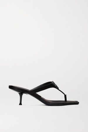 Bianca Embellished Satin Sandals - Black