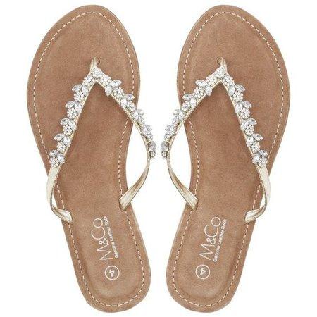 M&Co Teardrop Diamante Flip Flops