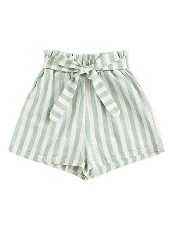 SweatyRocks Women's Casual Elastic Waist Striped Summer Beach Shorts with Pockets | Amazon.com