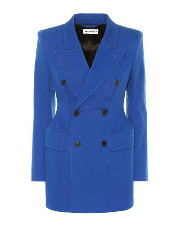 Balenciaga Hourglass Stretch-cotton Blazer in Blue - Lyst