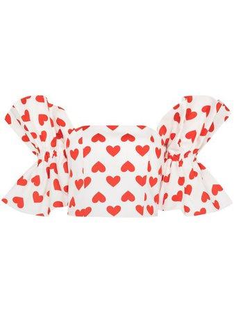 ANOUKI Heart Print off-shoulder Blouse - Farfetch