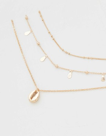 AEO Cowrie Shell Gold Layered Necklaces 3-Pack