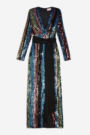Stripe Sequin Wrap Front Maxi Dress By Club L   TopShop