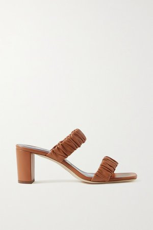 Frankie Ruched Leather Sandals - Tan