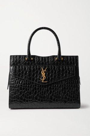 Uptown Medium Croc-effect Leather Tote - Black