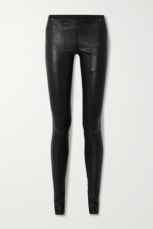 Stretch-leather And Cotton-blend Leggings - Black