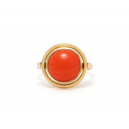 VINTAGE CORAL AND 14K GOLD RING - MID-20TH CENTURY: FIFTIES, SIXTIES, AND SEVENTIES - BY AGE - SHOP