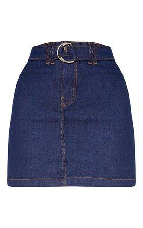 Dark Wash O-Ring Belt Detail Denim Mini Skirt   PrettyLittleThing