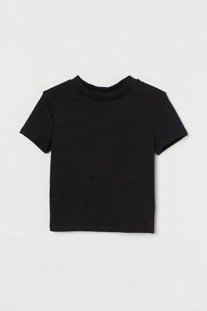 Short Jersey Top - Black - Ladies | H&M US